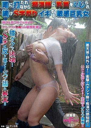 「雨に打たれながら痴漢師に乳首をいじられ続けS字反りイキする敏感巨乳女」のパッケージ